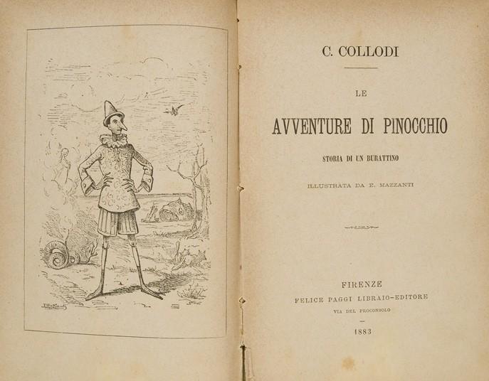 Libro-Le-Avventure-di-Pinocchio-Storie-di-un-Burattino-Autore-C.-Collodi.-Anno-1883-Firenze-Recendione-Comparata-2017