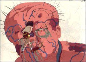 Film d'Animazione Akira- scena del mostro Tetsuo e la sua amica