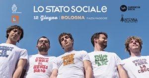 Lo Stato Sociale in concerto in Piazza Maggiore a Bologna (tour 2018 Imm. Facebook)
