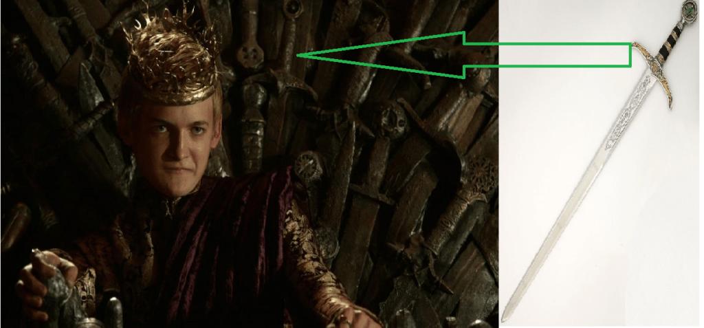 Sorpresa-Serie-Tv--Joffrey-sul-Trono-di-Spade-sullo-schienale-è-riproposta-la-spada-di-Robin-Hood