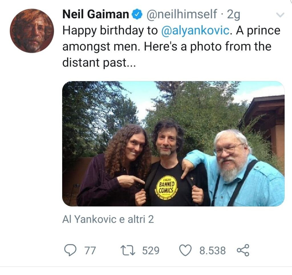 Pag-Uff-Twitter-Neil-Gaiman-George-Martin-Weird-Al-Yankovic-Recensione-Comparata-2019