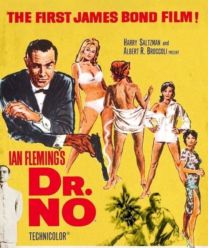 Primo-film-Dr.-No-Agente-007-Licenza-di-Uccidere-Protagonista-James-Bond-interpretato-Sean-Connery - Anno-1962