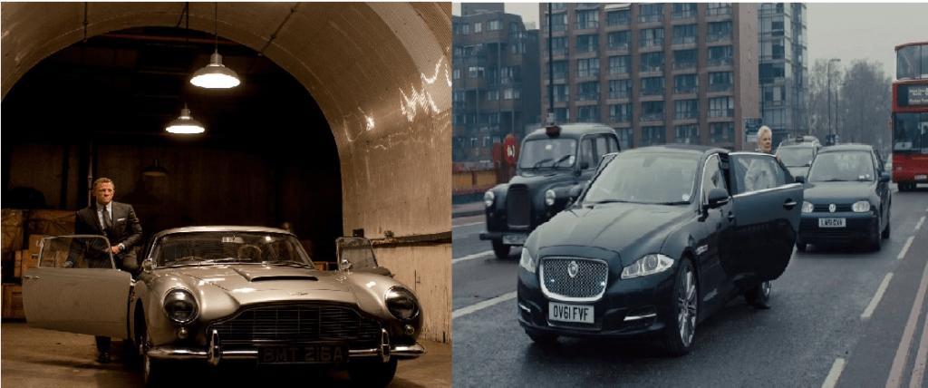 Skyfall-Auto-Aston-Martin-BD5-di-J.-Bond-vs-Auto-Jaguard-XJ-di-M