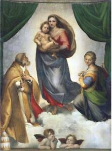 Dipinto-Madonna-Sistina-Artista-Raffaele-Sanzio-città di Dresda